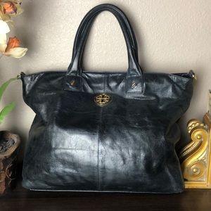Tory Burch Black Vintage Leather Tote Bag